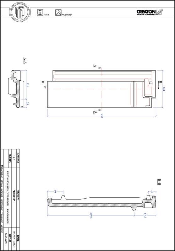 Termék CAD file DOMINO kettőshullámú taréjszellőző félcserép FALLH