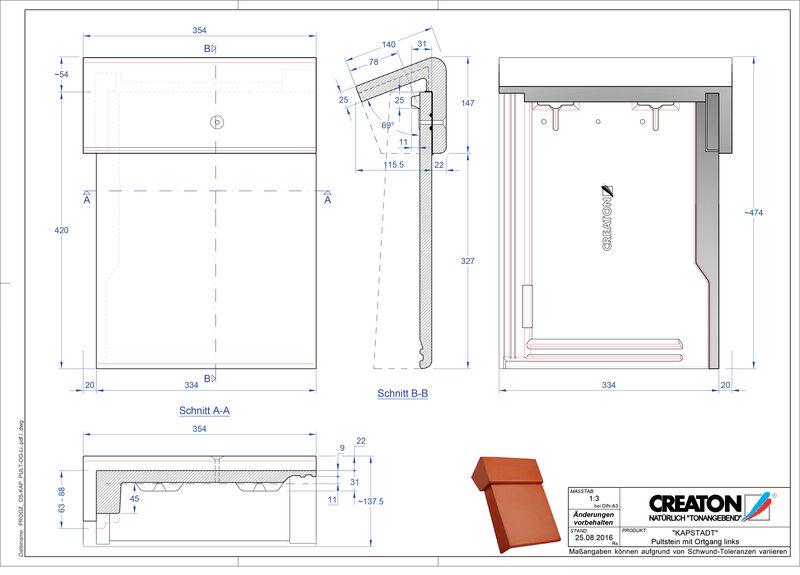 Termék CAD file KAPSTADT beton félnyeregtető szegélycserép, bal PultOGL