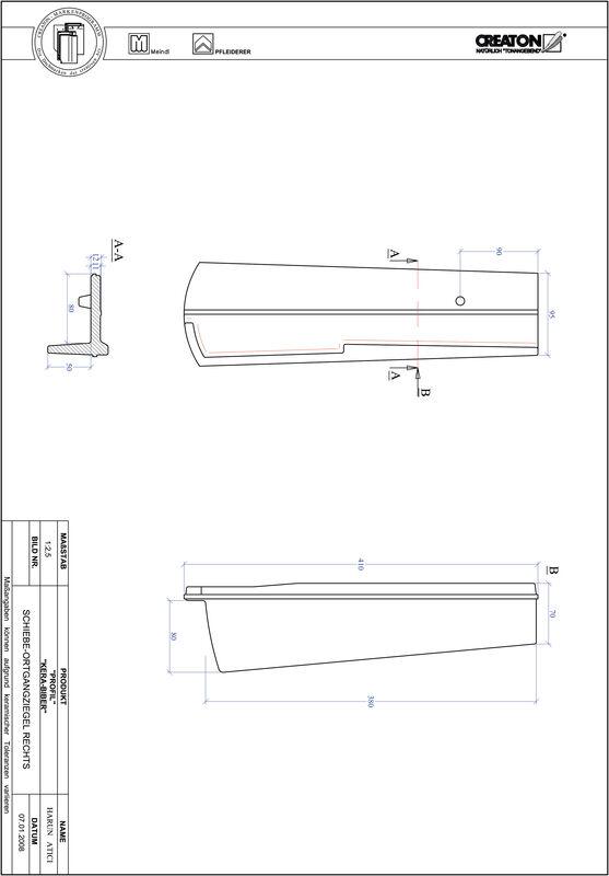 Termék CAD file PROFIL szegmensvágású KERA-SAECHS-18-CM-OGR
