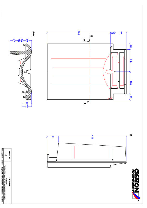 Termék CAD file SINFONIE taréjszellőző-szegélycserép, bal FALOGL