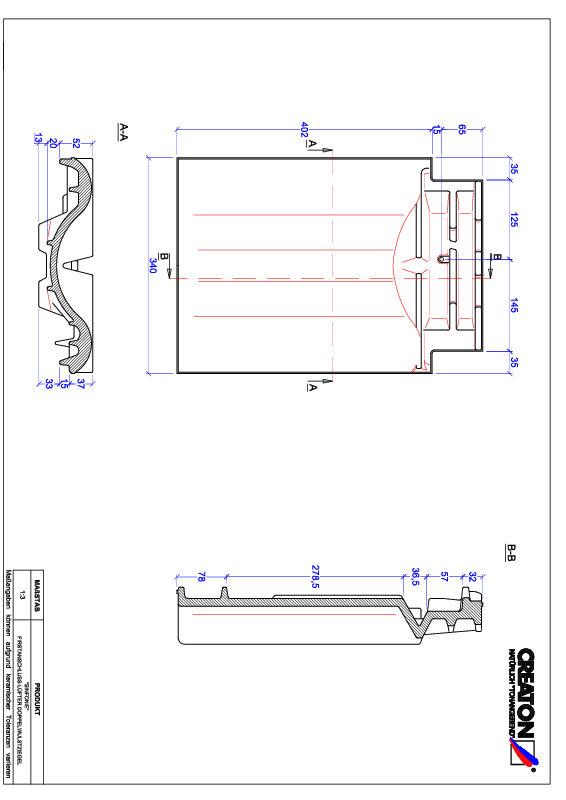 Termék CAD file SINFONIE kettőshullámú taréjszellőző cserép FALDWZ