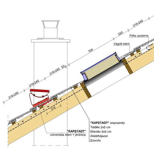 Termék műszaki rajz - Kapstadt tetőkibúvó járórács