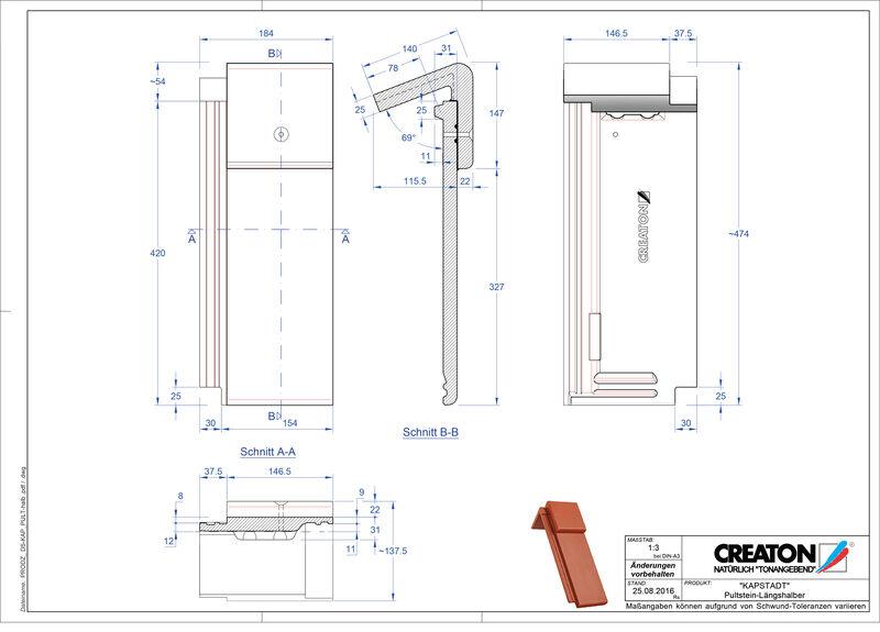 Termék CAD file KAPSTADT beton félnyeregtető-cserép alap Pult-halb