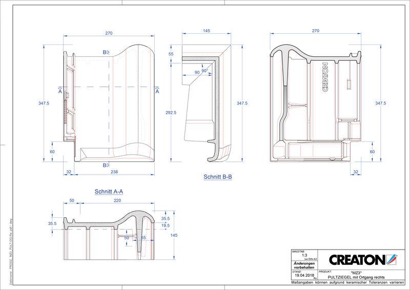 Termék CAD file MZ3 NEU  félnyeregtető szegélycserép, jobb PULTOGR