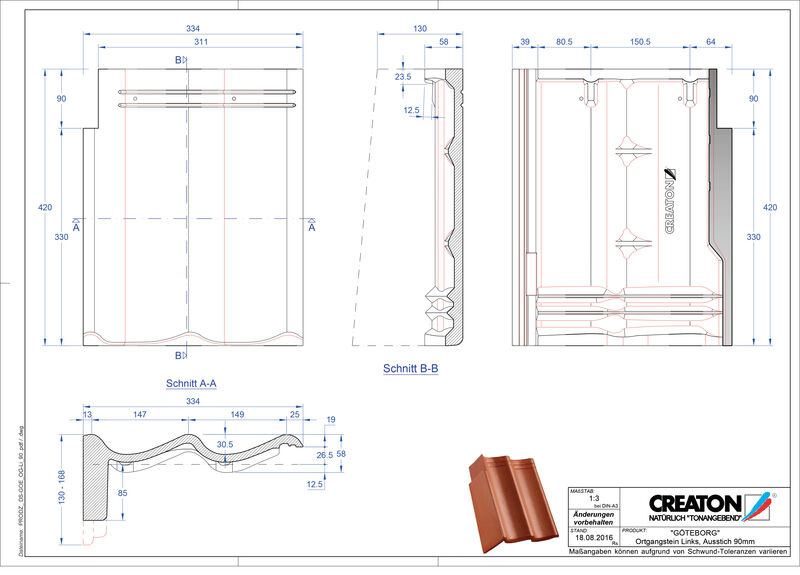 Termék CAD file GÖTEBORG beton félnyeregtető szegélycserép, bal PultOGL-90