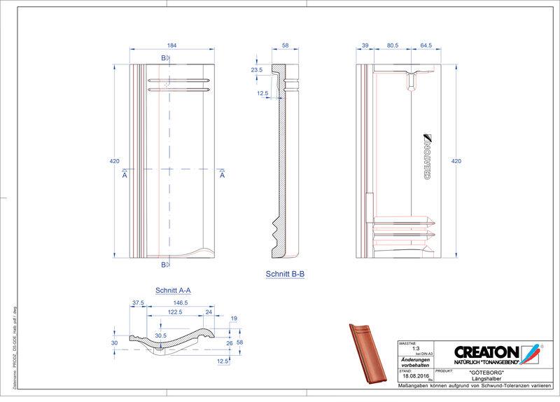 Termék CAD file GÖTEBORG félcserép Laengshalber