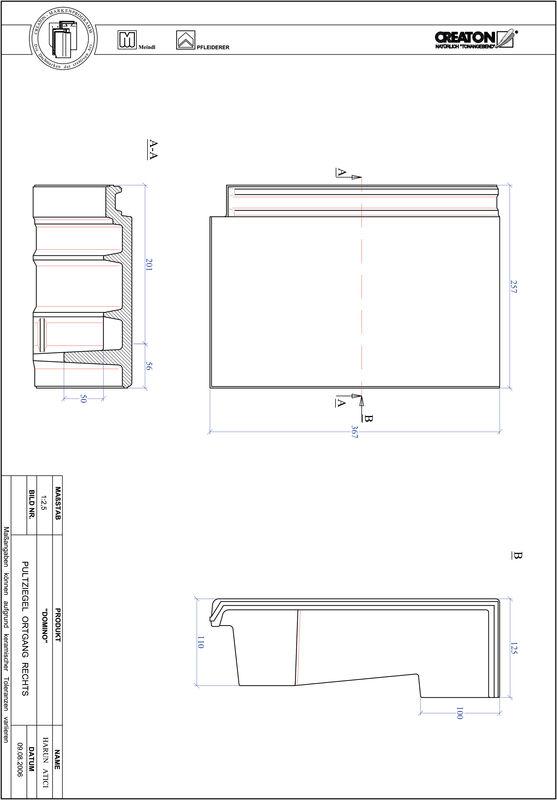 Termék CAD file DOMINO  félnyeregtető szegélycserép, jobb PULTOGR