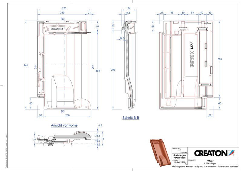 Termék CAD file MZ3 NEU szellőző cserép LUEFTZ