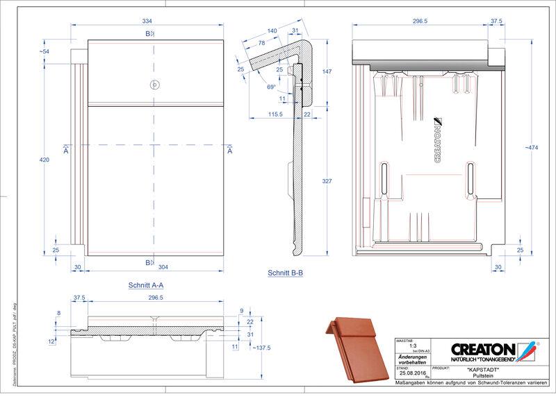 Termék CAD file KAPSTADT beton félnyeregtető-cserép alap PULTSTEIN
