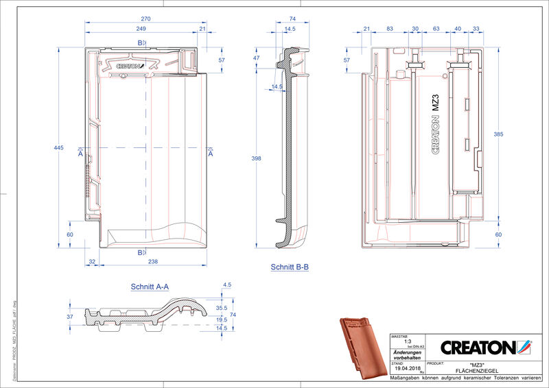 Termék CAD file MZ3 NEU alapcserép FLA