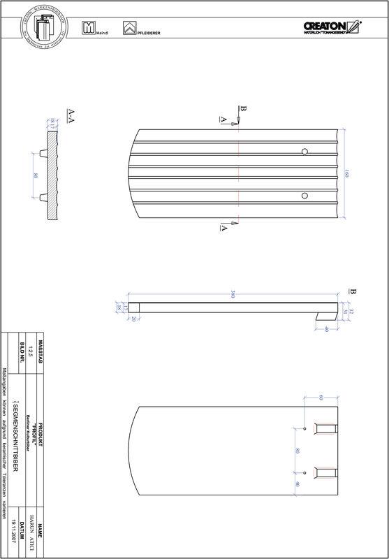 Termék CAD file PROFIL szegmensvágású BKBI-1-1