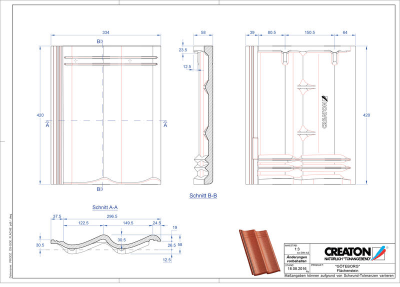 Termék CAD file GÖTEBORG alapcserép Flaechenstein