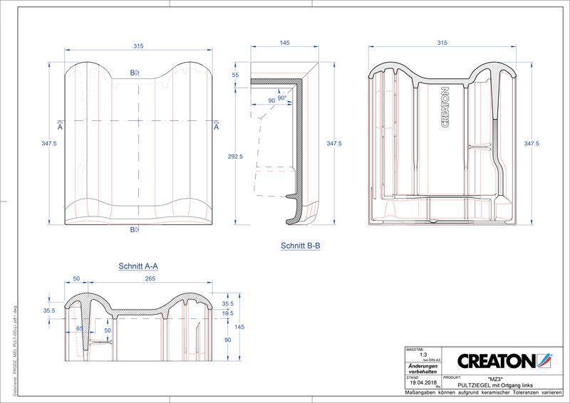 Termék CAD file MZ3 NEU félnyeregtető szegélycserép, bal PULTOGL