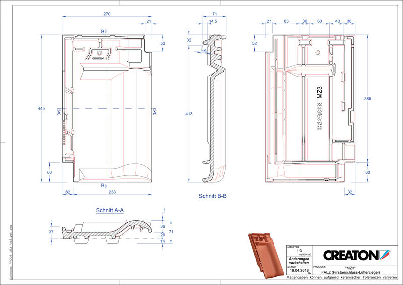Termék CAD file MZ3 NEU taréjszellőző cserép FALZ