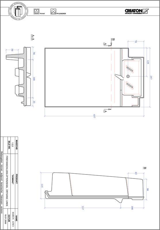 Termék CAD file DOMINO taréjszellőző-szegélycserép, bal FALOGL
