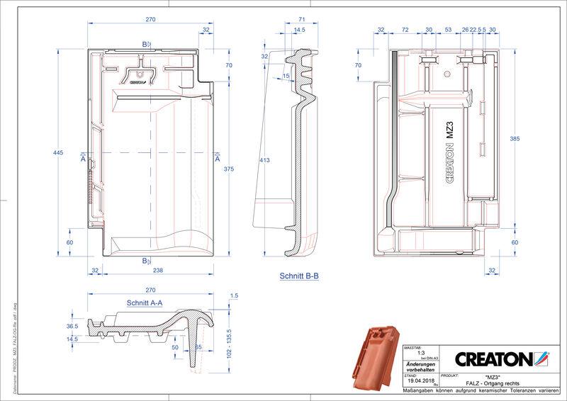 Termék CAD file MZ3 NEU taréjszellőző-szegélycserép, jobb FALOGR