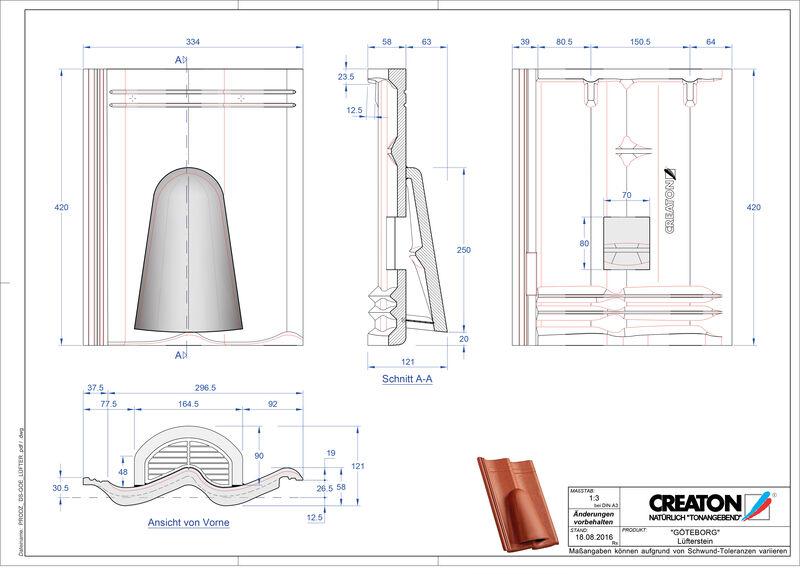 Termék CAD file GÖTEBORG beton szellőző cserép Luefterstein