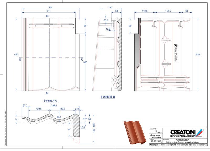 Termék CAD file GÖTEBORG  beton félnyeregtető szegélycserép, jobb PultOGR-90
