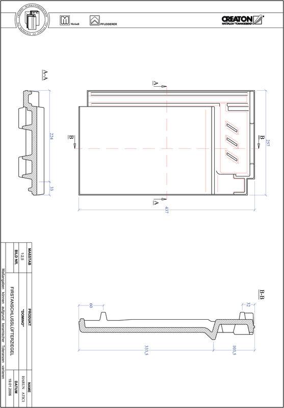 Termék CAD file DOMINO taréjszellőző cserép FALZ
