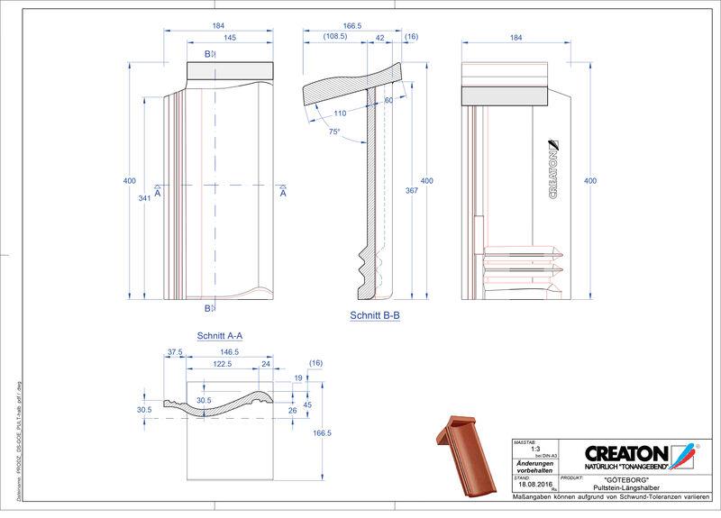 Termék CAD file GÖTEBORG beton félnyeregtető-cserép alap Pult-halb