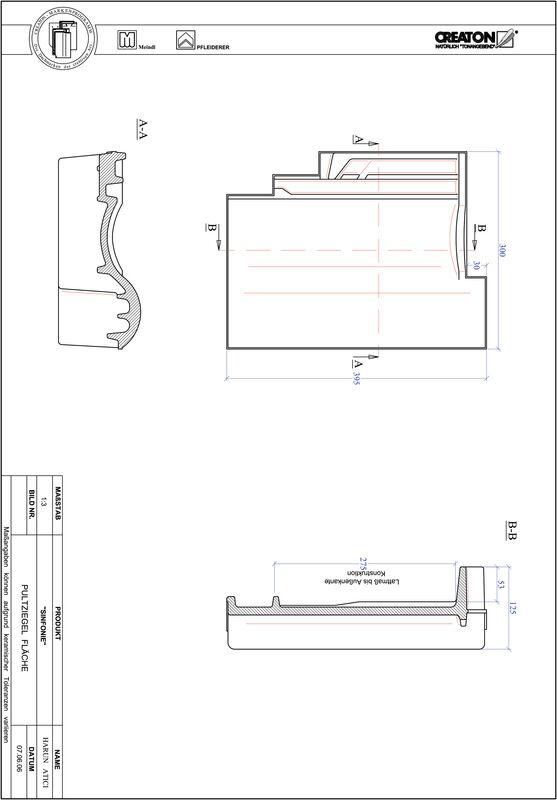 Termék CAD file SINFONIE félnyeregtető-cserép alap PULTFLA