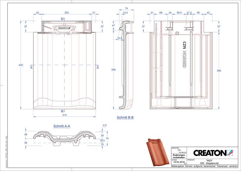 Termék CAD file MZ3 NEU kettőshullámú cserép DWZ