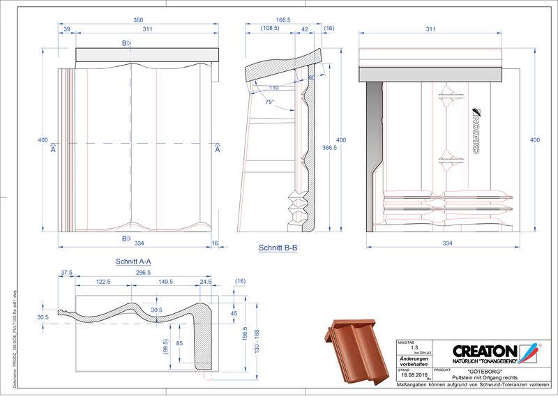 Termék CAD file GÖTEBORG  beton félnyeregtető szegélycserép, jobb PultOGR