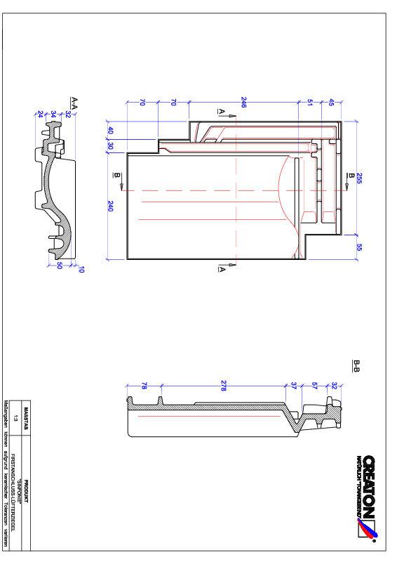 Termék CAD file SINFONIE taréjszellőző cserép FALZ