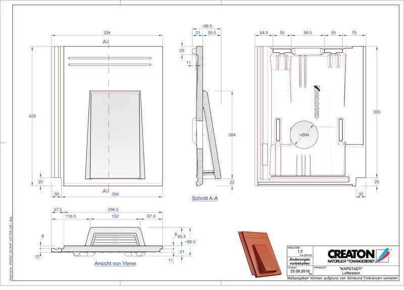 Termék CAD file KAPSTADT szellőző cserép Luefterstein