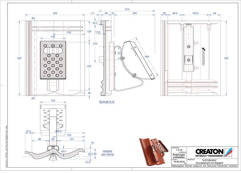 Termék CAD file GÖTEBORG alapelem Steigtritt