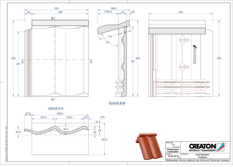 Termék CAD file GÖTEBORG beton félnyeregtető-cserép alap PULTSTEIN