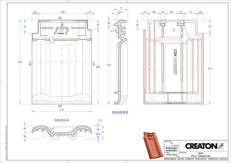 Termék CAD file MZ3 NEU kettőshullámú taréjszellőző cserép FALDWZ