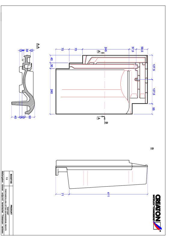 Termék CAD file SINFONIE taréjszellőző-szegélycserép, jobb FALOGR