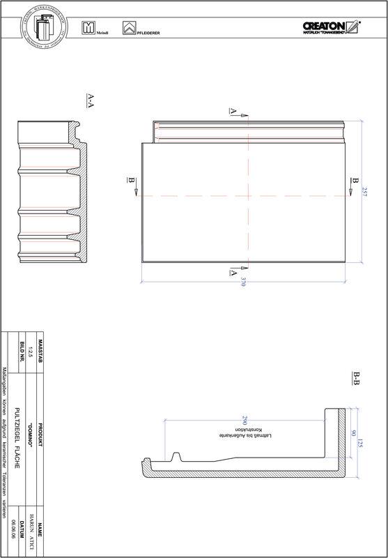 Termék CAD file DOMINO félnyeregtető-cserép alap PULTFLA