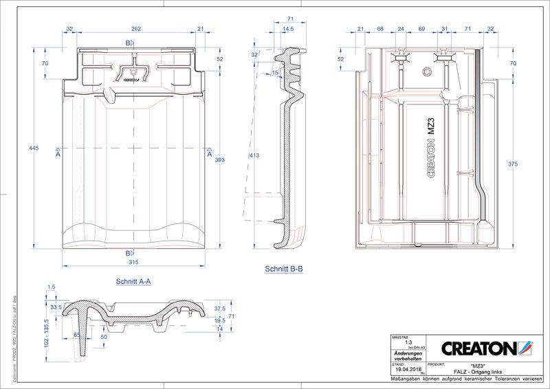 Termék CAD file MZ3 NEU taréjszellőző-szegélycserép, bal FALOGL