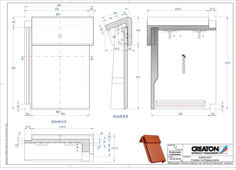 Termék CAD file KAPSTADT  beton félnyeregtető szegélycserép, jobb PultOGR