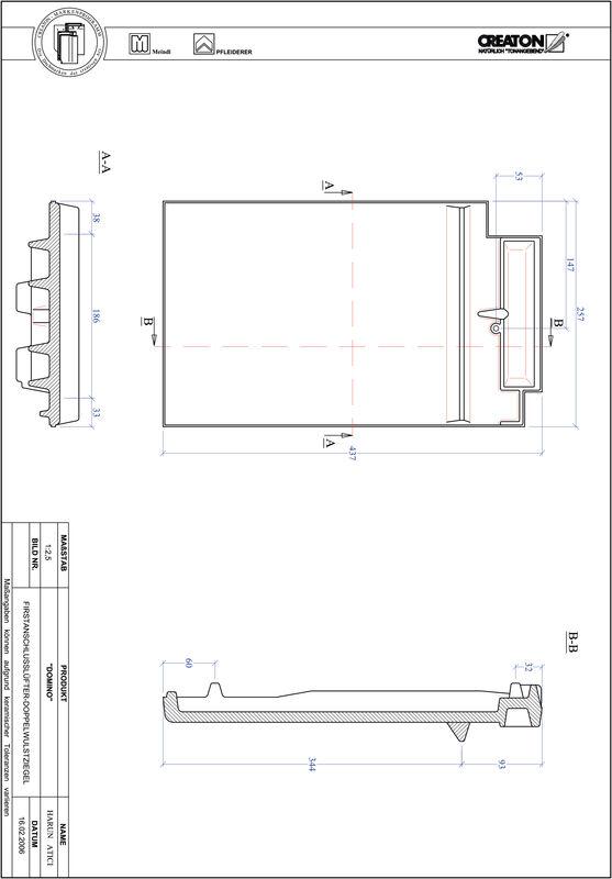 Termék CAD file DOMINO kettőshullámú taréjszellőző cserép FALDWZ