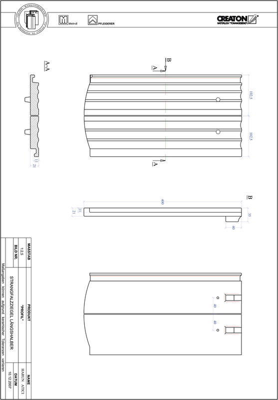 Termék CAD file PROFIL szegmensvágású STRANGFALZ-GEWELLT-LH
