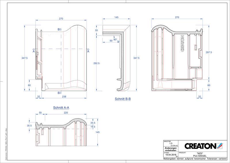 Termék CAD file MZ3 NEU félnyeregtető-cserép alap PULT