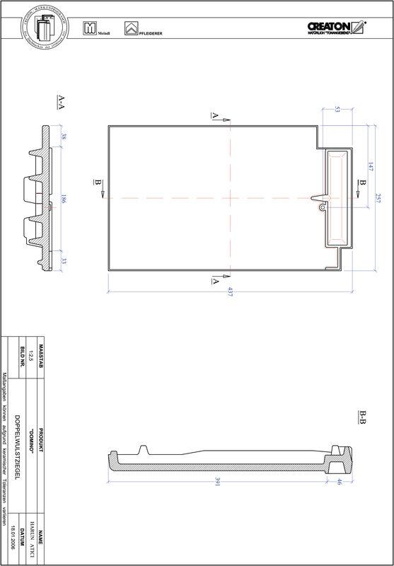 Termék CAD file DOMINO kettőshullámú cserép DWZ