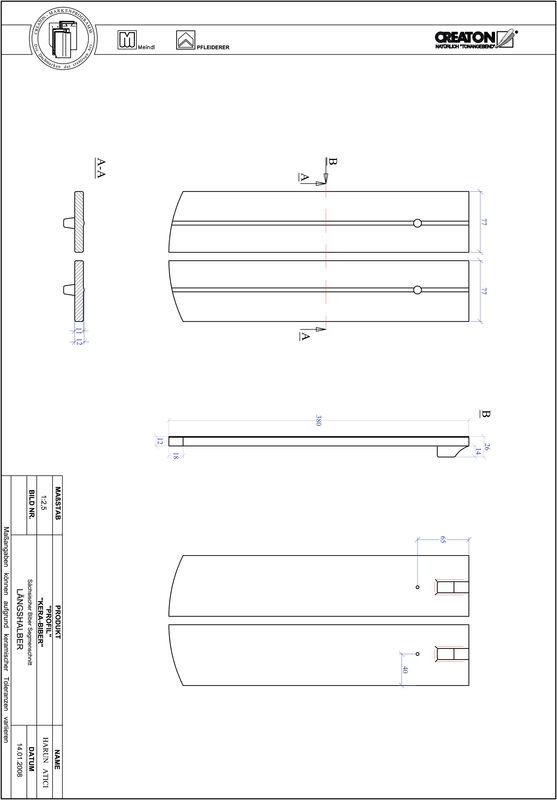 Termék CAD file PROFIL szegmensvágású KERA-SAECHS-15-CM-LH