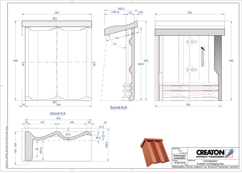 Termék CAD file GÖTEBORG beton félnyeregtető szegélycserép, bal PultOGL