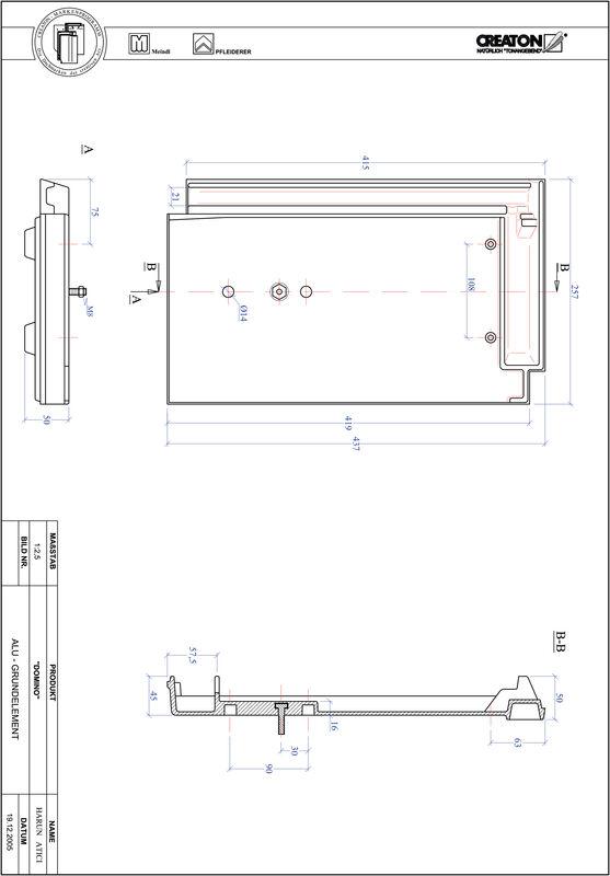 Termék CAD file DOMINO alap, alumínium GRUNDALU