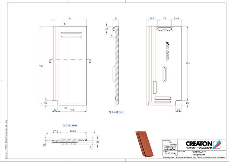 Termék CAD file KAPSTADT félcserép Laengshalber