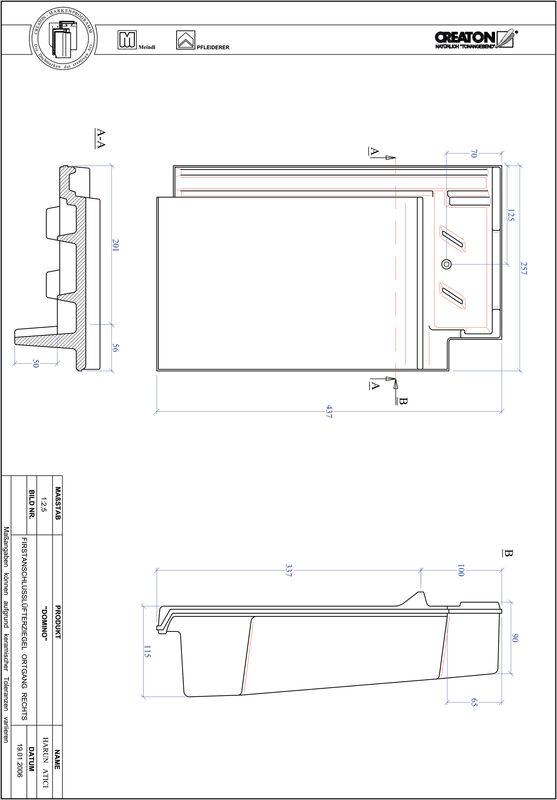 Termék CAD file DOMINO taréjszellőző-szegélycserép, jobb FALOGR