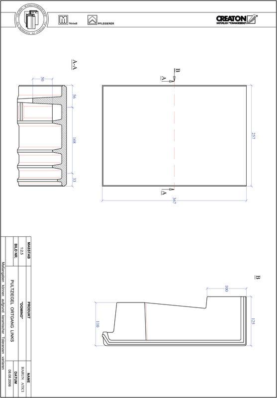 Termék CAD file DOMINO félnyeregtető szegélycserép, bal PULTOGL